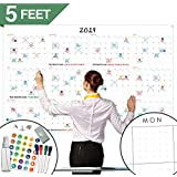 """Large Dry Erase Wall Calendar - 60"""" x 38"""" - Blank 2019 Reusable Annual Planner - Academic Fiscal Year Office Project 12 Month Poster - Laminated Giant Jumbo Oversized Erasable Undated Calander"""