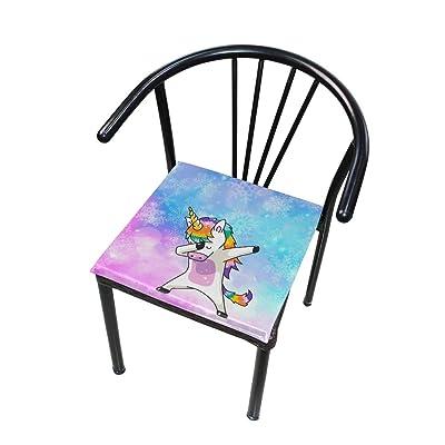 Bardic FICOO Home Patio Chair Cushion Funny Unicorn Snowflake Square Cushion Non-Slip Memory Foam Outdoor Seat Cushion, 16x16 Inch: Home & Kitchen