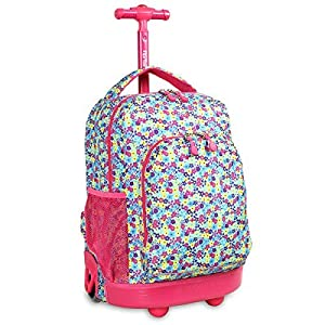 J World Floret Sunny 17-inch Rolling Backpack