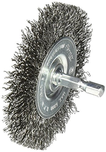 [Forney 72735 Wire Wheel Brush, Coarse Crimped with 1/4-Inch Hex Shank, 3-Inch-by-.012-Inch] (Crimped Wire Wheel)