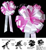 10 PINK WHITE WEDDING 8'' PEW BOW BRIDAL CAKE DECORATION
