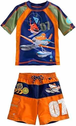 293dc432ec Disney Store Planes Dusty Crophopper Boy Rash Guard & Swim Trunks Set Size  5/6