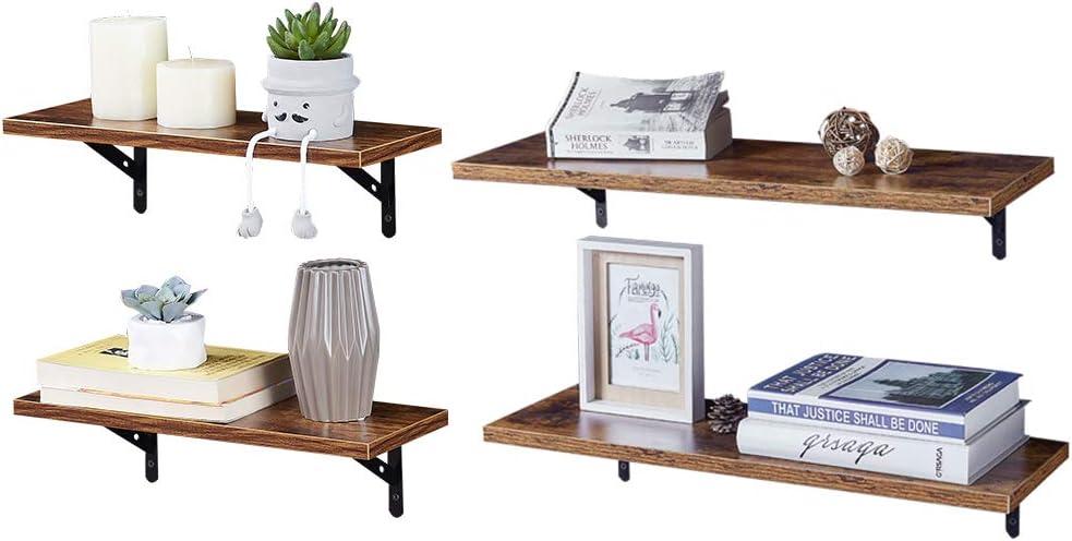 SUPERJARE Wall Mounted Floating Shelves, Set of 4, Display Ledge, Storage Rack for Room/Kitchen/Office
