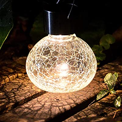 Sogrand Solar Lantern Jar Lights 2Pack Outdoor Table Light Crackle Glass Ball Table Lamp Jars Tabletop Bulb Decorations Hanging Tree Lanterns Bright LED Garden Decor with Hanger for Gift Party Yard