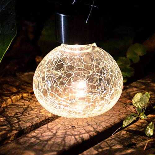 (Sogrand Solar Lantern Jar Lights 2Pack Outdoor Table Light Crackle Glass Ball Table Lamp Jars Tabletop Bulb Decorations Hanging Tree Lanterns Bright LED Garden Decor with Hanger for Gift Party Yard)