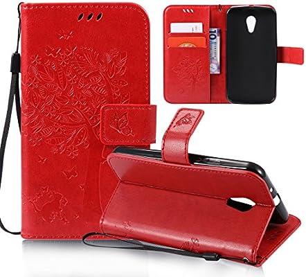 Oududianzi OuDu Funda Motorola Moto G2 Carcasa de Billetera Funda PU Cuero para Motorola Moto G2 Carcasa Suave Protectora - Rojo