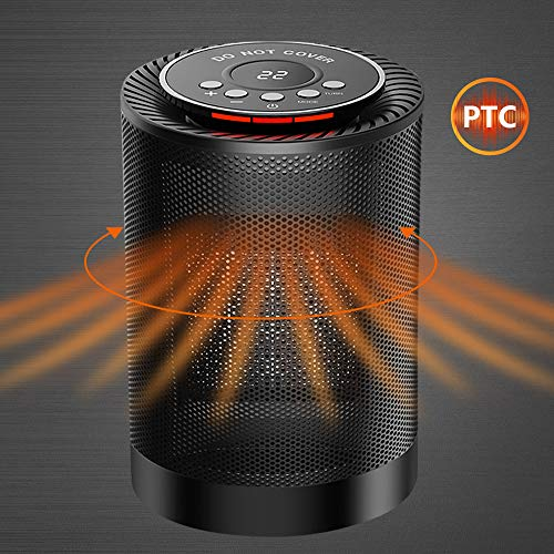 SENDOW Portable Electric Space Heater, 1200W PTC Ceramic Heater Fan with Adjustable Thermostat Overheat & Tip-Over Protection Auto Oscillation