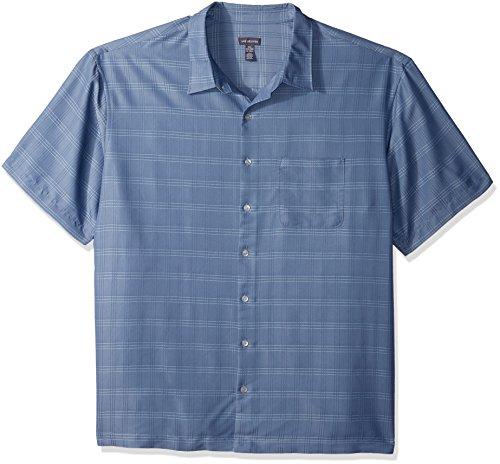 Classic Denim Dress Shirt - Van Heusen Men's Size Big and Tall Poly Rayon Short Sleeve Button Down Shirt, Blue Jeans, Large