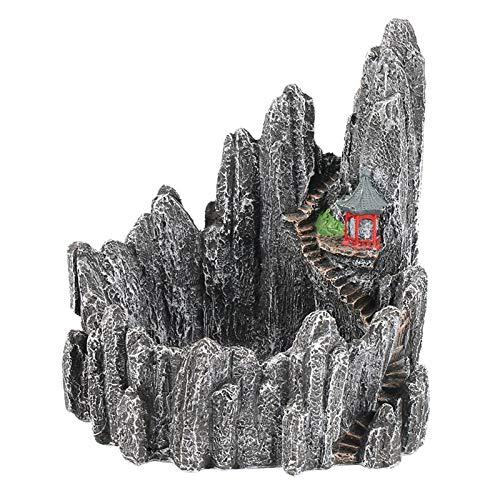 - ZAMTAC Simulation Miniature Rock Mountain Hill Cliff Flower Succulent Plants Pot Holders Plant Garden Pots Sculpture Planter