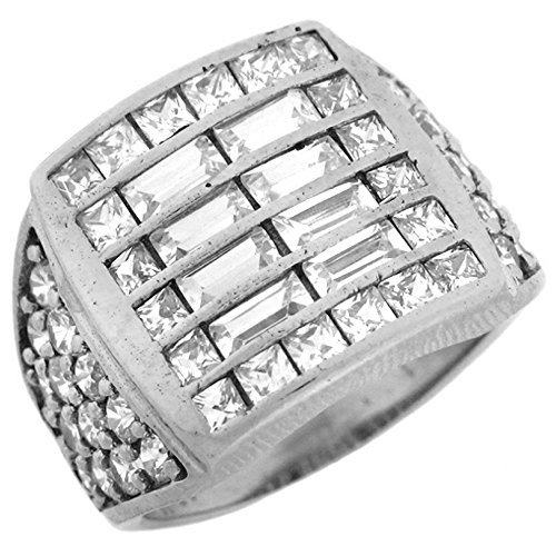 10k White Gold CZ Cluster Hip Hop Bling Large Fancy Mens Ring by Jewelry Liquidation