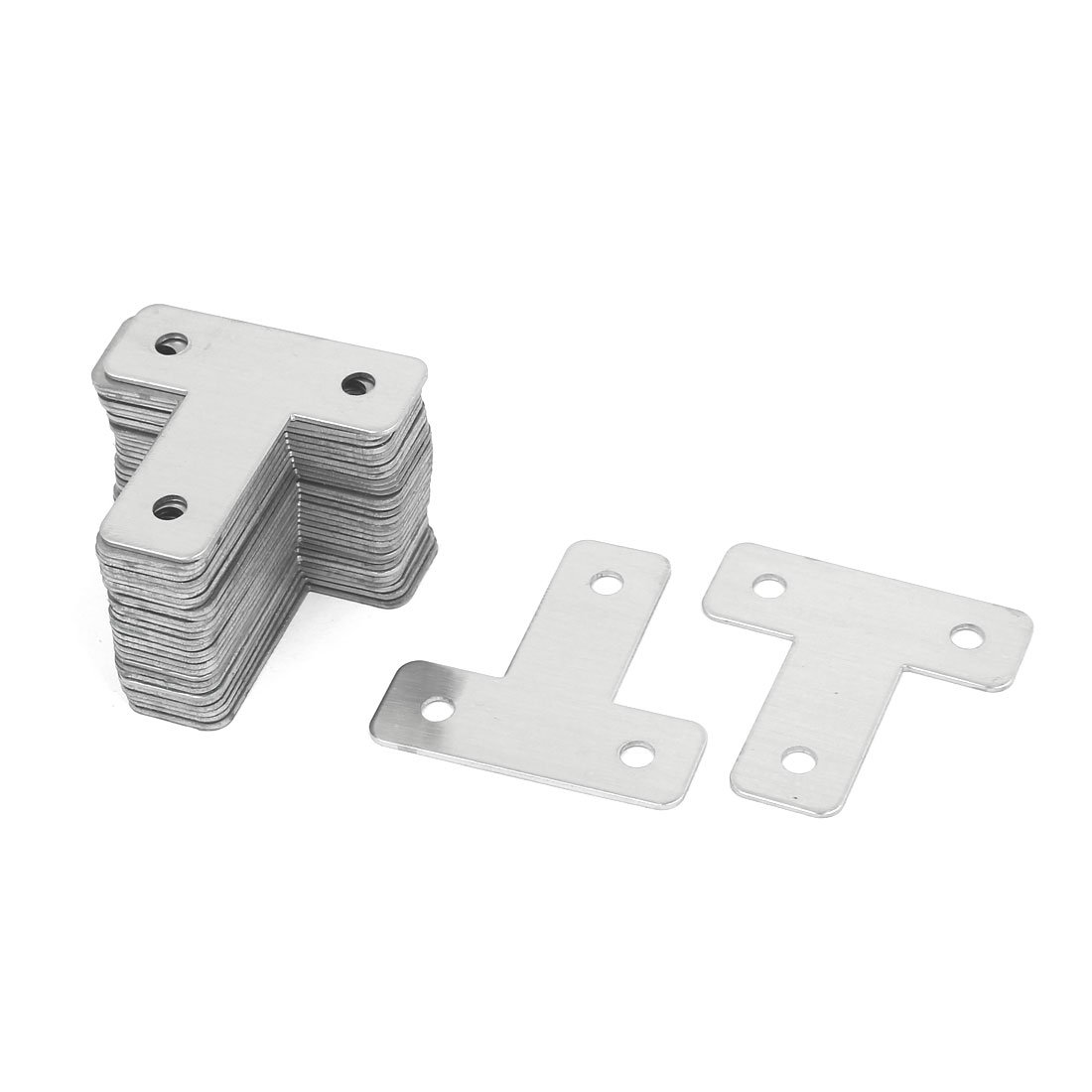 uxcell Door Bed 43mmx43mm T Shaped Stainless Steel Angle Bracket Corner Brace 30pcs