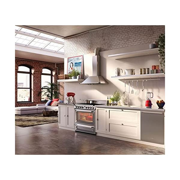 """Smeg KT90XU 36"""" Wall Mount Chimney Range Hood with 600 CFM and 4 Fan Speeds, Stainless Steel 2"""