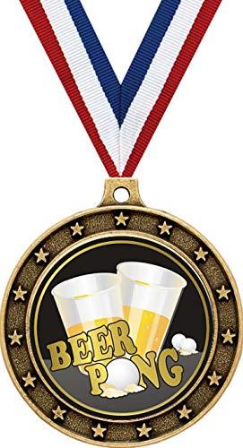 Crown Awardsゴールドビールポンメダル - 2 1/2インチビールトーナメント賞メダル B07H3BZFMS  100