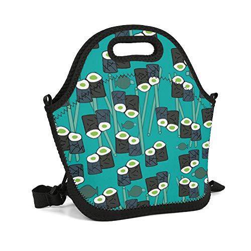 (XIAORD SONDESA Work School Picnic Travel Outdoor Resuable Insulated Storage Neoprene Lunch Tote Bag for Adult Kids Waterproof Sushi on Blue Background Cooler Box with Shoulder Strap)