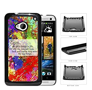 Enjoy The Little Things Quote with Colorful Abstract Paint Splatter Background hard snap on phone case cover HTC One M7