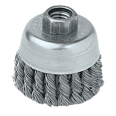 """Weiler Wire Cup Brush, Threaded Hole, Stainless Steel 302, Partial Twist Knotted, 2-3/4"""" Diameter, 0.02"""" Wire Diameter, 5/8""""-11 Arbor, 1"""" Bristle Length, 14000 rpm (Pack of 1) from Weiler"""