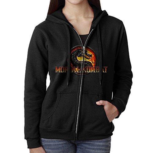 Sub Zero Mortal Kombat X Costume (KOBT Women's Mortal Kombat Jurassic Style Zip-Up Hoodies Jackets Black Size XL)