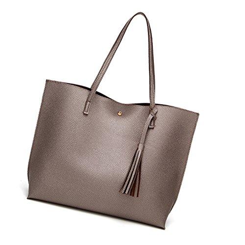 Women Bag Color Leather Large Tassel Tote Bags Bobury bronze PU Crossbody Female Shoulder Bags Lady Capacity Solid BnPZEqEx