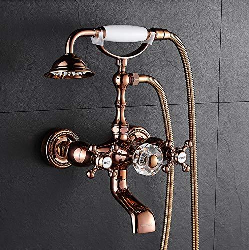 ROKTONG Taps Taps Taps pink gold Bathtub Faucet Wooden Tub Bathtub Faucet Shower Set Copper Wall-Mounted Bathtub Faucet