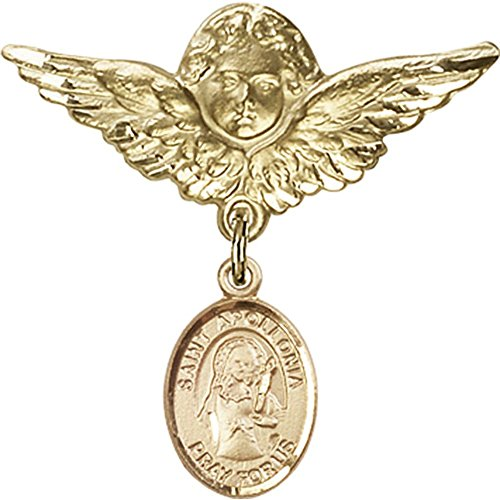 Gold Filled Baby Badge with St. Apollonia Charm and Angel w/Wings Badge Pin 1 1/8 X 1 1/8 inches by Unknown