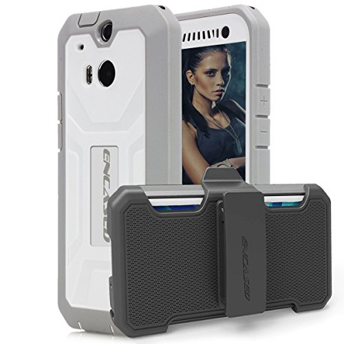 Encased Pantera Series Case and Belt Clip for HTC ONE M8 - White (Htc One M8 Otter Box Clip)