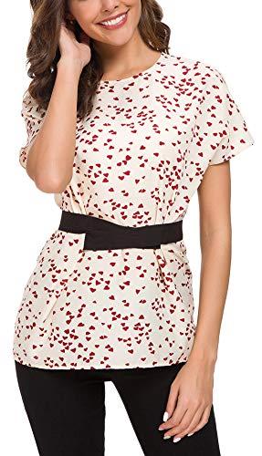 ACONIYAWomens Tie Knot Casual Belted Blouse Elegant Long/Short Sleeve Shirt Work Tunic Tops (Heart Print, L)