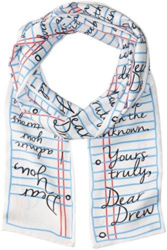 Dear Drew By Drew Barrymore Womens Love Letter Long Skinny Scarf  Cloud Multi  One Size