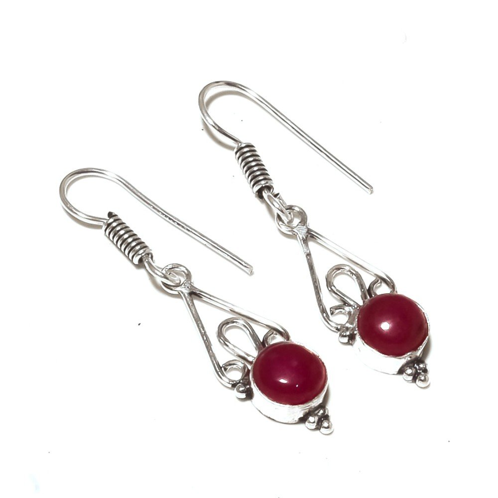 Red Dyed Ruby Sterling Silver Overlay 5 Grams Earring 1.75 Long Fantasy Jewelry