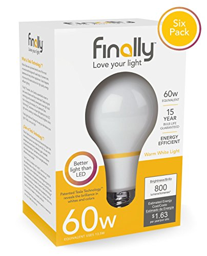 - New Finally Light Bulb, 60 watt Equivalent, A19, Pack of 6 Light Bulbs, Long Lasting, Warm White, Non-LED, Energy Efficient, with Tesla Technology