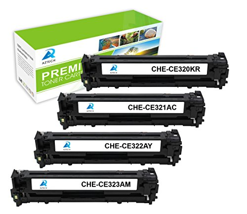 AZTECH 4 Pack Black Cyan Yellow Magenta Compatible Toner Cartridge Replaces HP 128A CE320A CE321A CE322A CE323A CE320 For HP LaserJet Pro CP1525N CP1525NW CM1415FN CM1415FNW