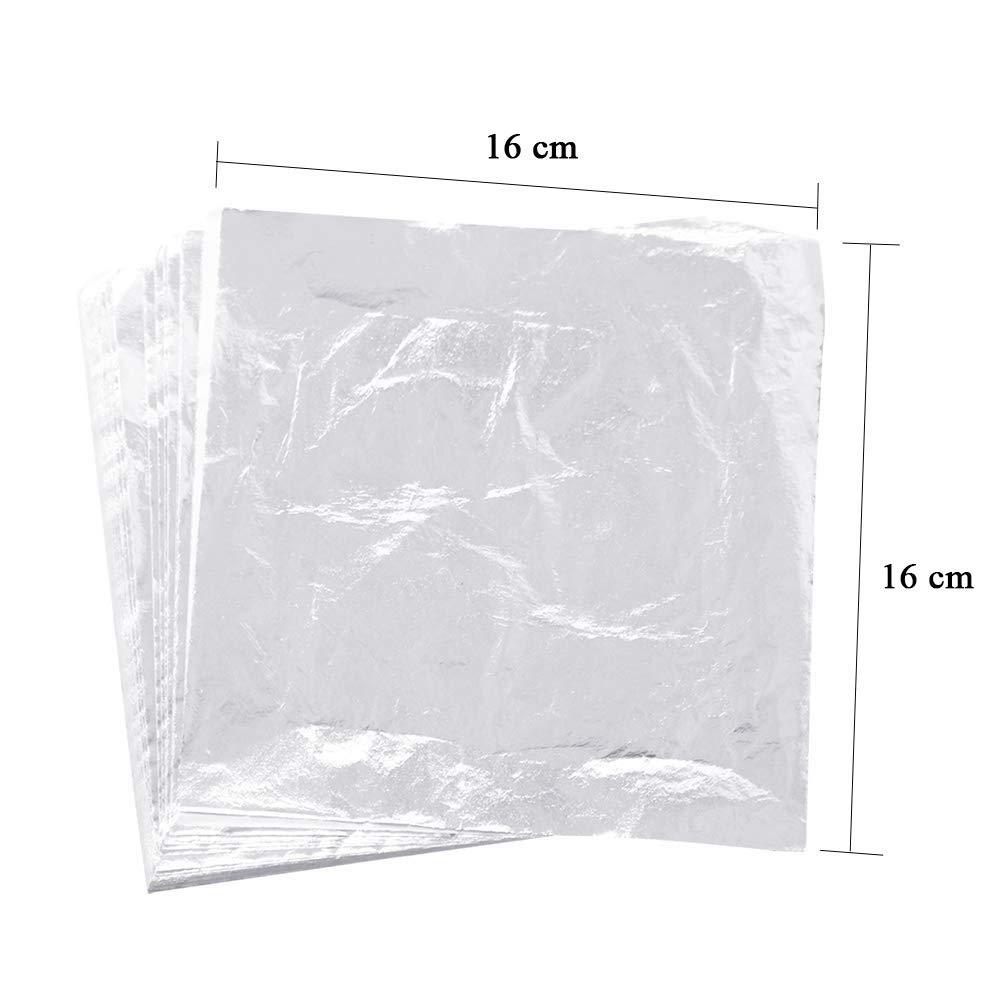 Arts Project 100 Sheets Imitation Silver Leaf Foil 5.5 X 5.5 Aluminum Leaf Foil Gilding Crafting Furniture Decoration