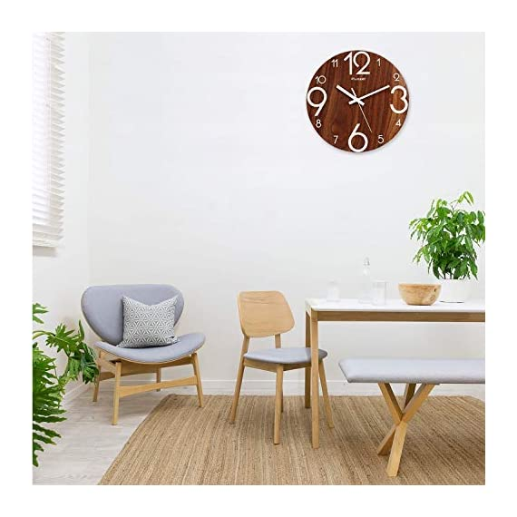 Plumeet Luminous Wall Clocks - 12'' Non-Ticking Silent Wooden Clock with Night Light - Large Decorative Wall Clock for Kitchen Office Bedroom (Wood) - GLOWING CLOCK ADVANTAGE -- Night lights function & long light up time, super quiet & non-ticking, big numbers perfect for the elderly or the visually restricted people. INCREDIBLE LUMINOUS TIME -- Light up more than 3 hours if clock receives enough sunlight at day, Four extra large numbers makes it easier to read at night. ANALOG SILENT CLOCK -- Precise quartz movements to guarantee accurate time, sweeping movement ensure a good sleeping and work environment. Made of wood, rich in rustic features. - wall-clocks, living-room-decor, living-room - 51hja438dRL. SS570  -