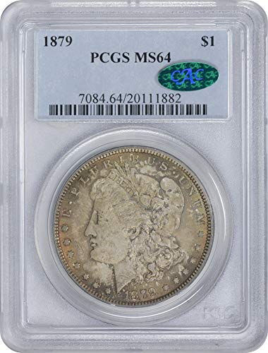 1879 Morgan Silver Dollar Red/Brown Toned Obverse w/Blue Features MS64 PCGS/CAC (Toned Obverse)