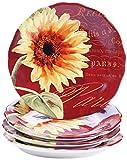 Certified International Paris Sunflower Salad/Dessert Plates (Set of 4), 8.75'', Multicolor