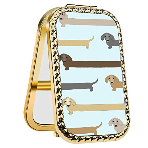 (IMLONE Rectangle Golden Purple Dachshund Compact Purse Mirror with 2X Magnification, Portable Folding Makeup Mirror, Great Choice and Best Gift for You and Your)