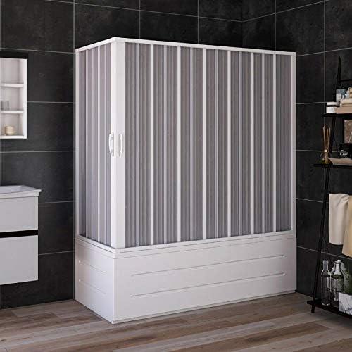 Cabina de Bañera 70x170 cm en PVC Plegable con Apertura Central H 150 cm Color Blanco Mod. Flex: Amazon.es: Hogar