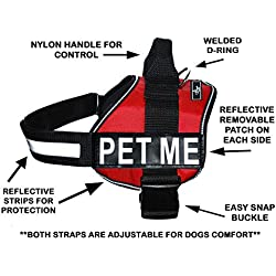 PET ME Nylon Dog Vest Harness. Purchase comes with 2 reflective removable PET ME pathces. PLEASE MEASURE your dog before ordering