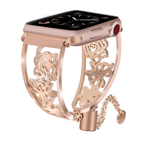 VIGOSS Jewelry Metal Bangle Compatible with Series 4 Apple Watch Band 38mm/40mm Women Luxury Copper Rose Gold Cuff Floral Hollow Bracelet Stainless Steel Strap for iWatch Series 4/3/2/1 Butterfly ()