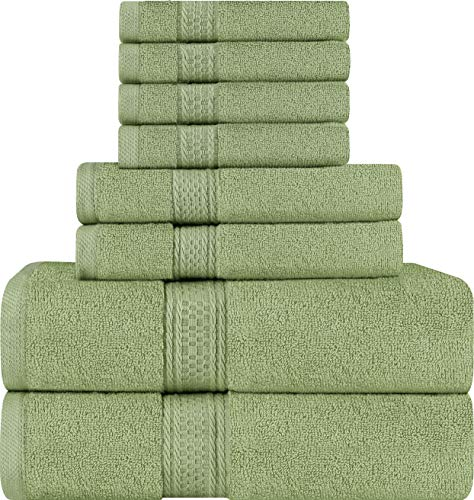 - Utopia Towels 8 Piece Towel Set, Sage Green, 2 Bath Towels, 2 Hand Towels, and 4 Washcloths