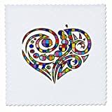 Anne Marie Baugh - Hearts - Contemporary Stained Glass Effect Heart - 10x10 inch quilt square (qs_236036_1)