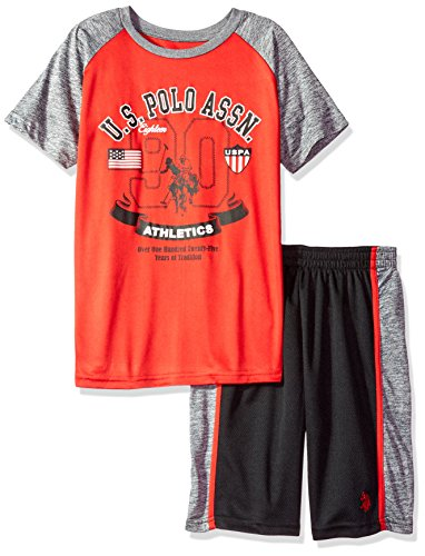 U.S. Polo Assn. Boys' Big T-Shirt and Mesh, Cationic Athletic Short Set red, 10