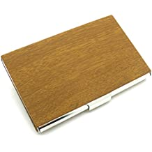 Partstock Business Name Card Holder,Wood Grain PU Leather & Stainless steel Suede Interior, for Men or Women Wallet Credit card ID Case - Great Gift