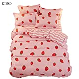 Kimko Kids Strawberry Bedding Set- Girls Reversible Red Strawberry Pattern & Pink Cover -4Pcs -1 Duvet Cover Set + 1 Bed Sheet + 2 Pillowcases (Full, # Strawberry)
