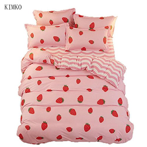 Kimko Kids Strawberry Bedding Set- Girls Reversible Red Strawberry Pattern & Pink Cover -4Pcs -1 Duvet Cover Set + 1 Bed Sheet + 2 Pillowcases (Queen, # (1 Reversible Bed)