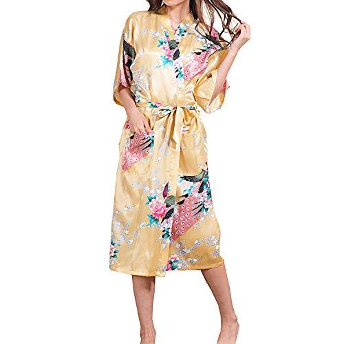 UTOVME Mujeres Kimono Largo Albornoz Pijamas de Seda, Camisión Estampado de Pavo Real para Spa Fiestas Amarillo