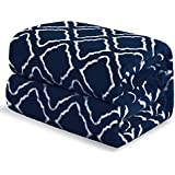 """Bedsure Flannel Fleece Blanket Printed - Lattice Scroll - Throw Blanket for Bed, Couch, Car, Office, Camping Travel and Gifts - Twin Size, 60"""" x 80"""", Navy"""