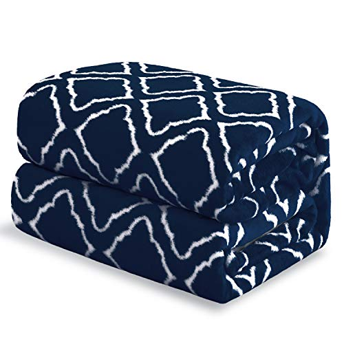 Bedsure Flannel Fleece Blanket Printed - Lattice Scroll - Throw Blanket for Bed, Couch, Car, Office, Camping Travel and Gifts - Throw Size, 50 x 60 inches, Navy (Navy And Throws Blue Blankets)