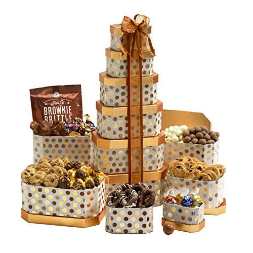 Broadway Basketeers Gourmet Gift Tower with an Assortment of Chocolate, Snacks, Sweets, Cookies and Nuts (Holiday Gift)