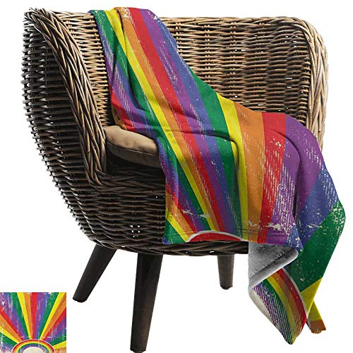 BelleAckerman Wearable Blanket,Vintage Rainbow,Weathered Looking Colorful Rays Burst Gay Parade LGBTI Festival Celebration,Multicolor,Lightweight Microfiber,All Season for Couch or Bed 50