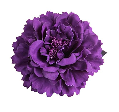 - Kewl Fashion Women's Bohemia Peony Flowers Hairpin Hair Clip Flower Brooch (Purple #)